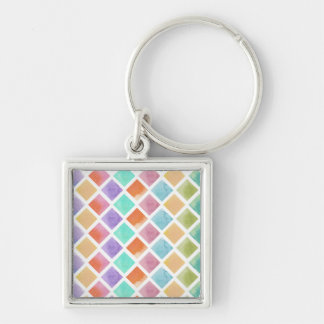 Watercolor squares pattern keychain