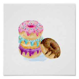 Watercolor stack of dounts poster