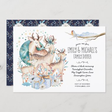 Watercolor STAG DEER FAMILY Event Blue Flowers Invitation