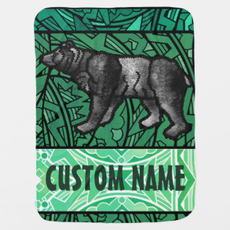 Watercolor Stained Glass Animal Custom Name Bear Receiving Blanket
