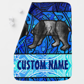 Watercolor Stained Glass Animal Custom Name Bear Swaddle Blanket