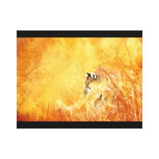 Watercolor Stalking Cougar Animal Mountain Lion Canvas Print