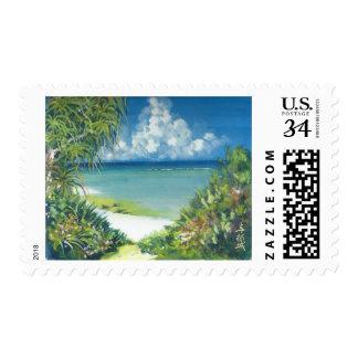 Watercolor Stamp Okinawa Beach and Wildflowers