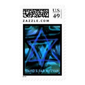 WATERCOLOR STAR Bar Bat Mitzvah Stamp Postage