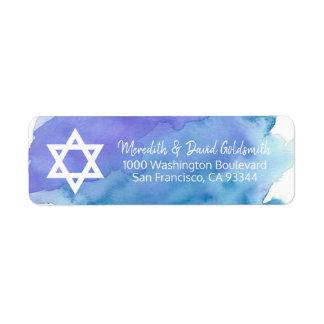 Watercolor Star of David Bar Mitzvah Return Label
