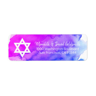 Watercolor Star of David Bat Mitzvah Return Label