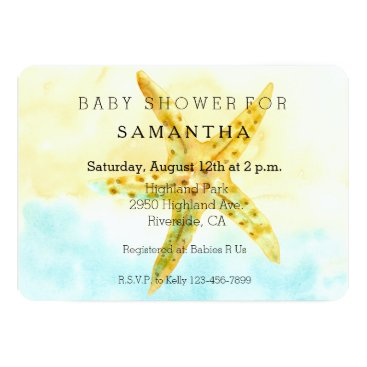 Beach Themed Watercolor Starfish baby shower Card