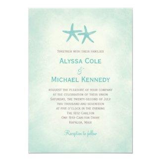 Watercolor Starfish Beach Wedding Invitation Custom Invitation