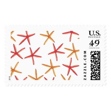 Beach Themed Watercolor Starfish Orange Red Beach Postage