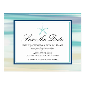 Watercolor Starfish Save the Date Postcard