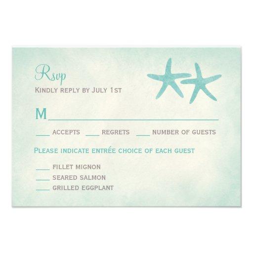 Watercolor Starfish Wedding RSVP Response Card 35 X 5 Invitation Card