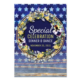 Watercolor Stars & Stripes Dinner & Dance Invite