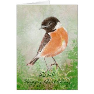 Watercolor Stonechat   Bird Happy Birthday Dad Card