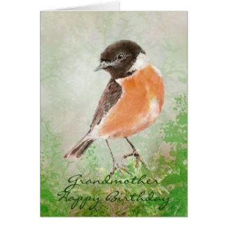 Watercolor Stonechat  Bird Happy Birthday Grandma Greeting Card
