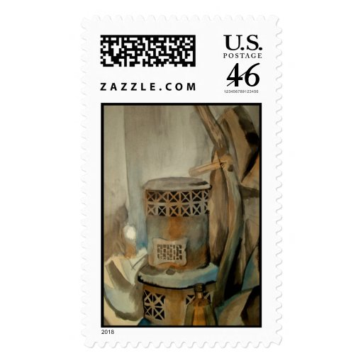 Watercolor Stove Postage Stamps