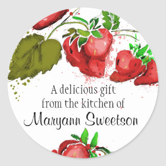 Watercolor strawberries fruit jam cake pie bakery classic round sticker