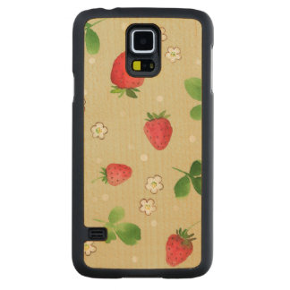 Watercolor strawberries pattern carved® maple galaxy s5 slim case