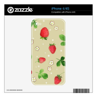 Watercolor strawberries pattern decals for the iPhone 4S