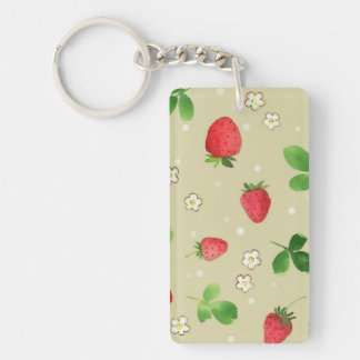 Watercolor strawberries pattern Double-Sided rectangular acrylic keychain