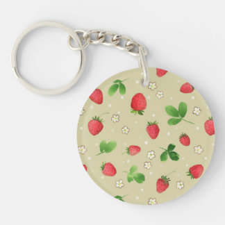 Watercolor strawberries pattern Double-Sided round acrylic keychain
