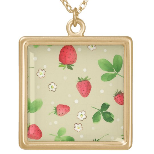 Watercolor strawberries pattern gold plated necklace