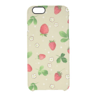 Watercolor strawberries pattern uncommon clearly™ deflector iPhone 6 case