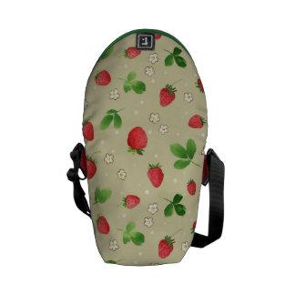 Watercolor strawberries pattern messenger bag