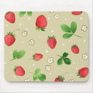Watercolor strawberries pattern mousepads