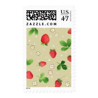 Watercolor strawberries pattern postage
