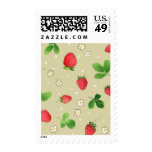Watercolor strawberries pattern postage stamps