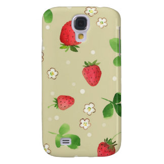 Watercolor strawberries pattern samsung s4 case
