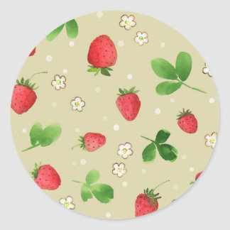 Watercolor strawberries pattern classic round sticker