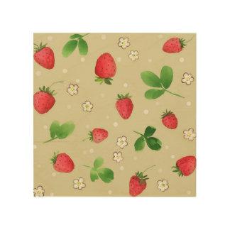 Watercolor strawberries pattern wood print