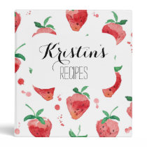 Watercolor Strawberries Pink & Red Painted Berries 3 Ring Binder