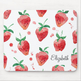 Watercolor Strawberries Pink & Red Painted Berries Mouse Pad