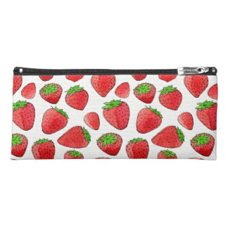 Watercolor Strawberry Pencil Case