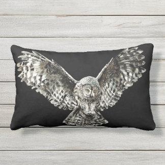 Watercolor Striking Owl Bird Wildlife Lumbar Pillow