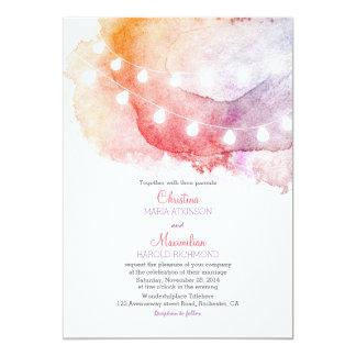 watercolor string lights elegant wedding 5x7 paper invitation card