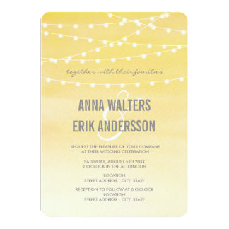 Watercolor String Lights Wedding 5x7 Paper Invitation Card