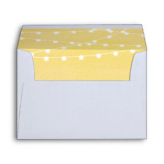 Watercolor String Lights Wedding Envelope