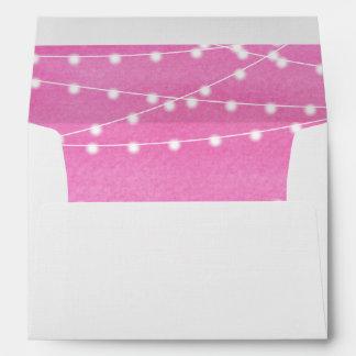 Watercolor String Lights Wedding Envelope