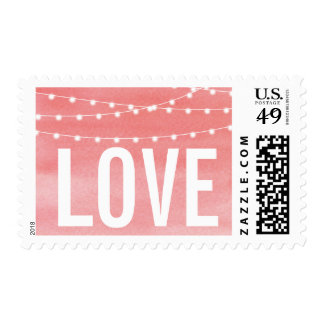Watercolor String Lights Wedding Stamp