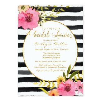 Watercolor Stripe Bright Floral Bridal Shower Card