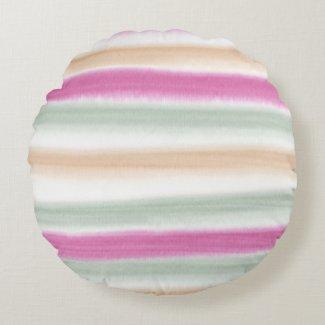 Watercolor Stripe reversible round pillow
