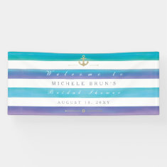 Watercolor Striped Nautical Bridal Shower Banner