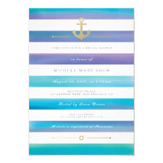 Watercolor Striped Nautical Bridal Shower Invite
