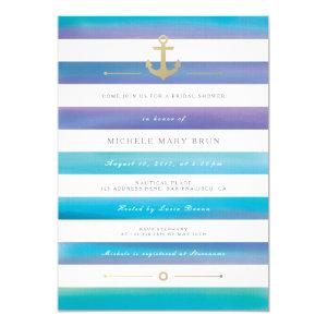 Watercolor Striped Nautical Bridal Shower Invite