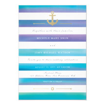 Watercolor Blue Striped Nautical Wedding Collection