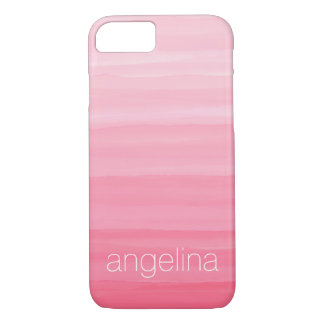 Watercolor Striped Pattern with Custom Name iPhone 8/7 Case