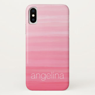 Watercolor Striped Pattern with Custom Name iPhone X Case
